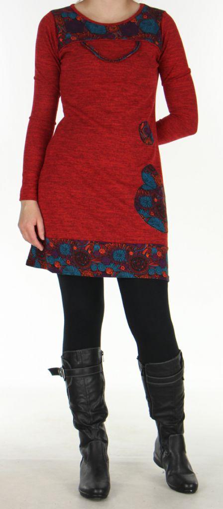 Robe courte Ethnique et Colorée d'hiver Telma Rouge 276372