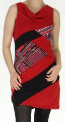 Robe courte Ethnique et Originale à col bénitier Maroussia Rouge 278811