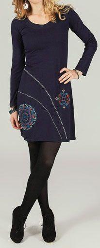 Robe courte ethnique et originale Bleutée Cannelle 273773