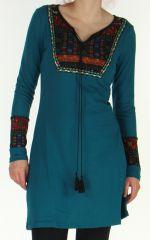 Robe courte Ethnique et Originale en Maille Vitalie Emeraude 276465