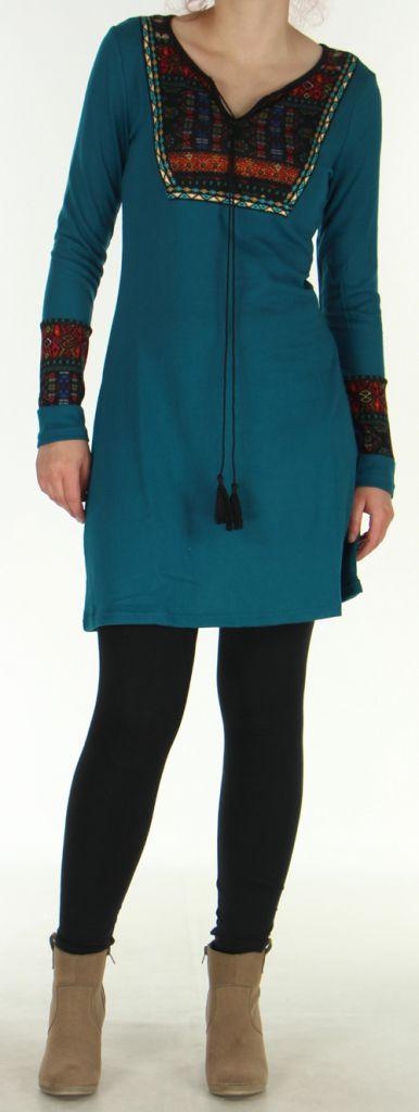 Robe courte Ethnique et Originale en Maille Vitalie Emeraude 276466