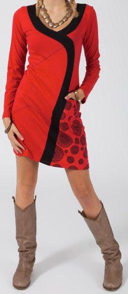 Robe courte Ethnique et Originale Manassa Rouge motifs noirs 275050