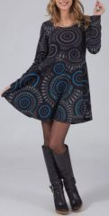 Robe courte évasée à col rond ethnique et originale noire Mista 274141