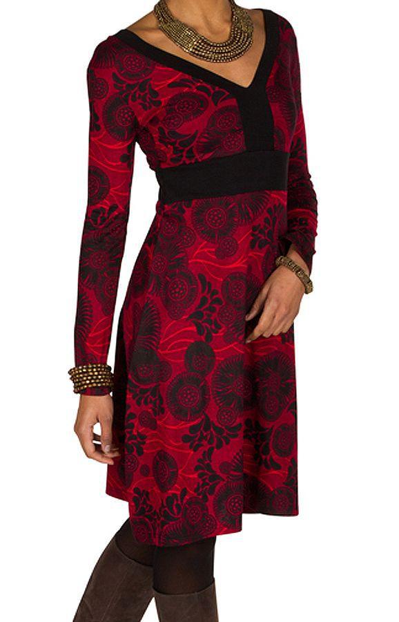 Robe courte fantaisie à imprimés et col en V Saveria 301662