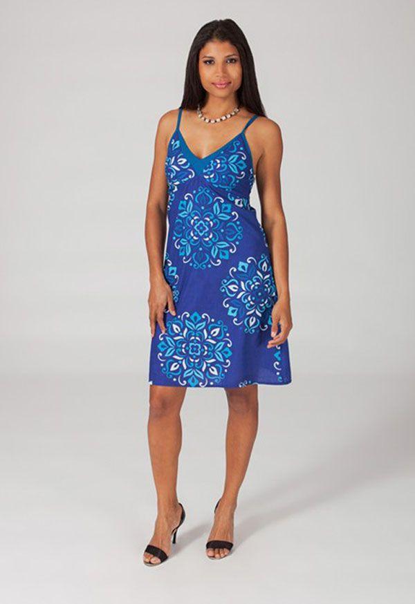 Robe courte fashion col V à fines bretelles Miline 318650