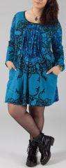 Robe courte femme pulpeuse Ethnique et Originale Kadia Bleue 274885