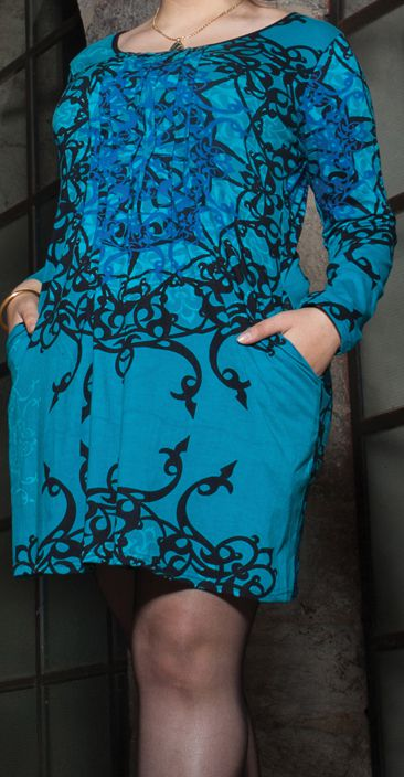 Robe courte femme pulpeuse Ethnique et Originale Kadia Bleue 274886