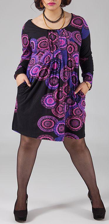 Robe courte femme pulpeuse Ethnique et Originale Kadia Violette 274882