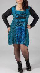 Robe courte femme pulpeuse Ethnique et Originale Kadija Bleu clair 274891