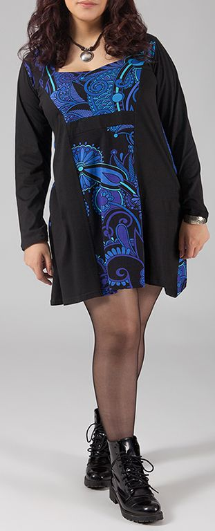 Robe courte femme pulpeuse Ethnique et Originale Kadija Bleu Vif 274894