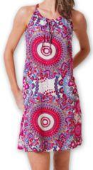 Robe courte fluide d'�t� Ethnique et Imprim�e Teresa Rose 277175
