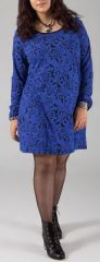 Robe courte grande taille � manches longues bleue Eve 274443