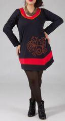 Robe courte grande taille à manches longues noire Coralie 274437