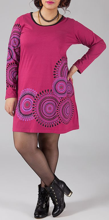 Robe courte grande taille à manches longues Rose Elodie 274439