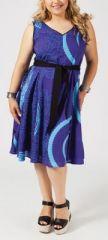 Robe courte grande taille bleue Johanne 268022