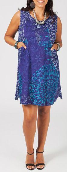 Robe courte grande taille colorée et originale bleue Fania