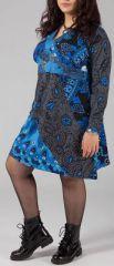Robe courte grande taille Color�e et Originale Kaaly Bleue 274874