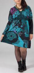 Robe courte grande taille Color�e et Originale Kaaly Verte 274876