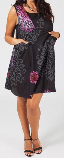 Robe courte grande taille colorée et originale noire Fania