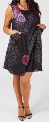 Robe courte grande taille color�e et originale noire Fania
