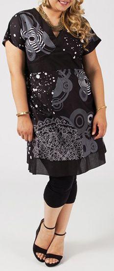 Robe courte grande taille ethnique et colorée Albana