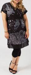Robe courte grande taille ethnique et color�e Albana