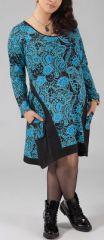 Robe courte grande taille Ethnique et Originale Hania Bleu clair 274775