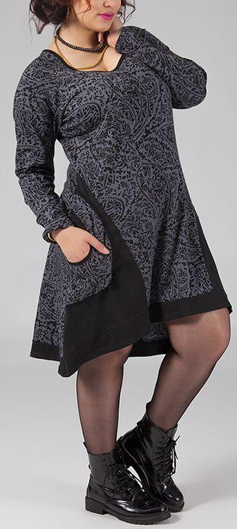 Robe courte grande taille Ethnique et Originale Hania Grise 274776
