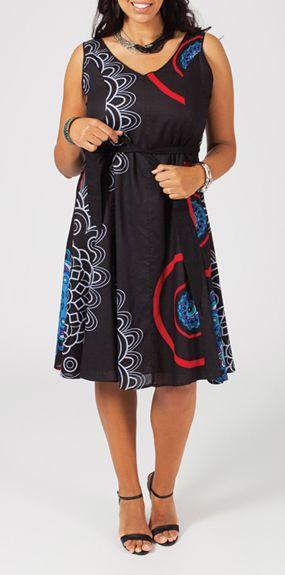 Robe courte grande taille noire Anna 268021