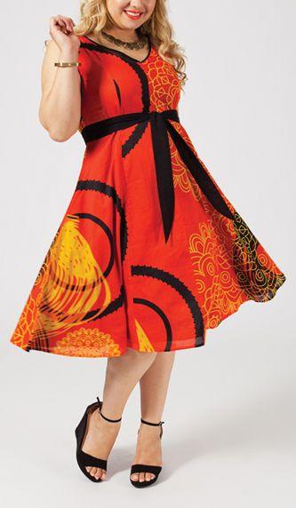 Robe courte grande taille orange Angèle 268016