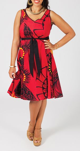 Robe courte grande taille rouge Jenny 268028