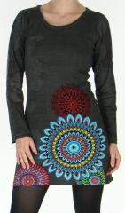 Robe courte Grise à manches longues Ethnique à Mandalas Sylvanna 278872