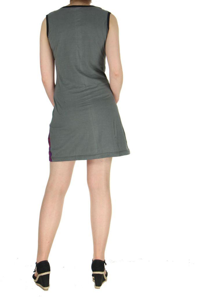 Robe courte grise imprimée Louisa 268938