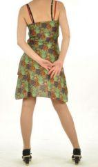 Robe courte imprimé lallu rouge 254562