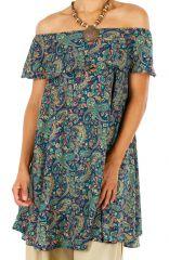 Robe courte imprimée à col bateau style bohème Tiphanie 306305