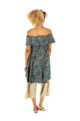 Robe courte imprimée à col bateau style bohème Tiphanie 306307