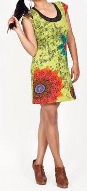 Robe courte imprimée ethnique-chic anis Marysia 271683