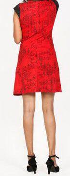 Robe courte imprimée ethnique-chic rouge Marysia