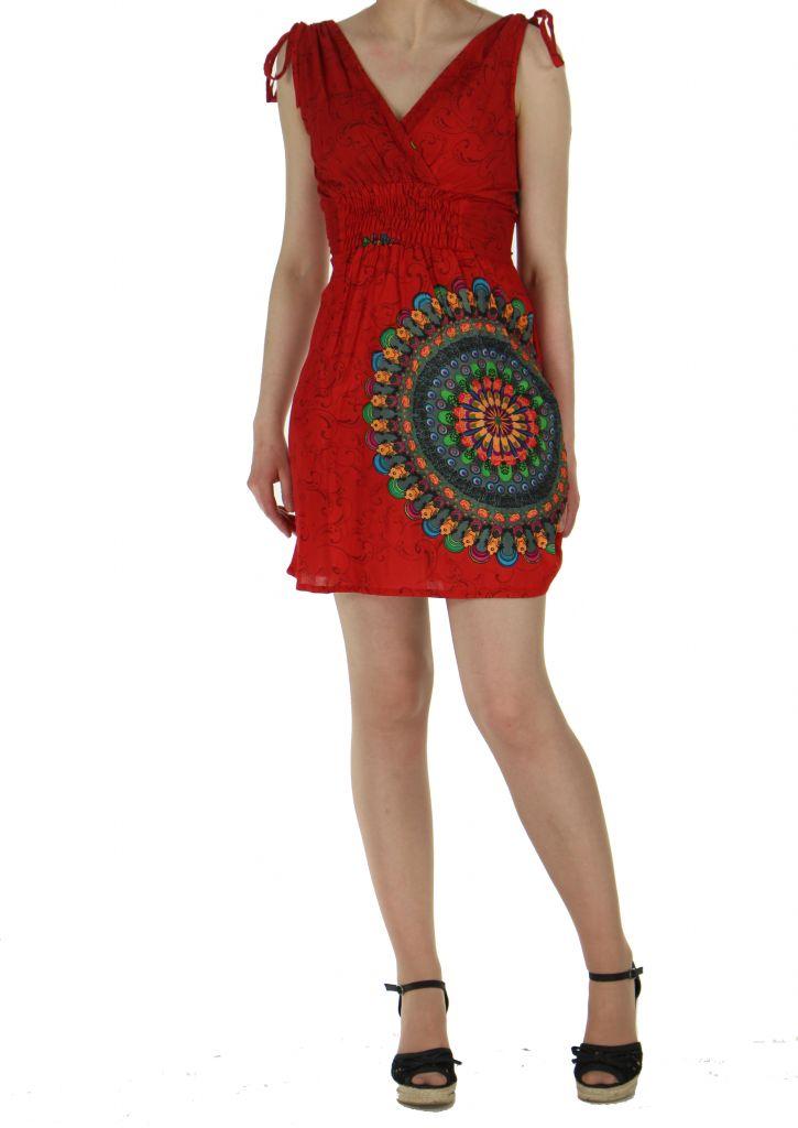 Robe courte imprimée fashion nawar rouge 261012