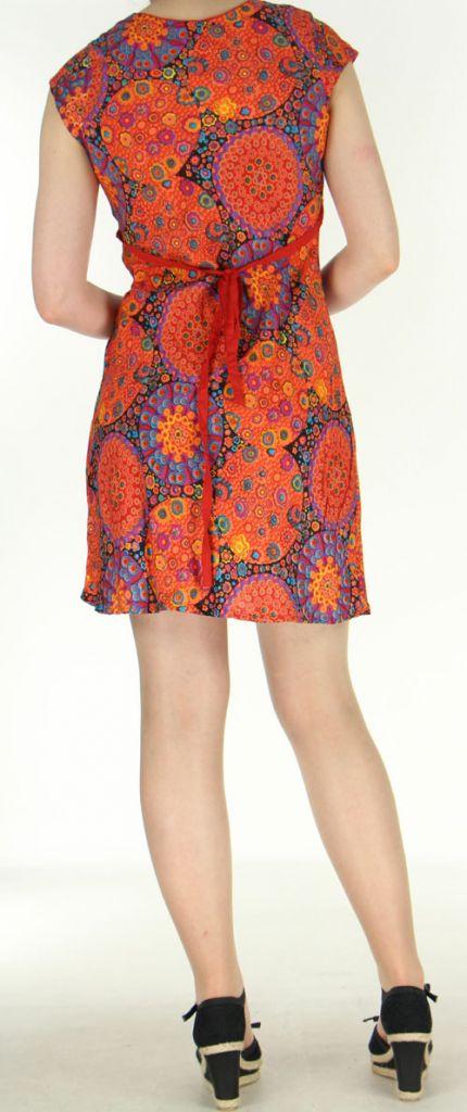 Robe courte imprimée orange sans manches Helena 270569