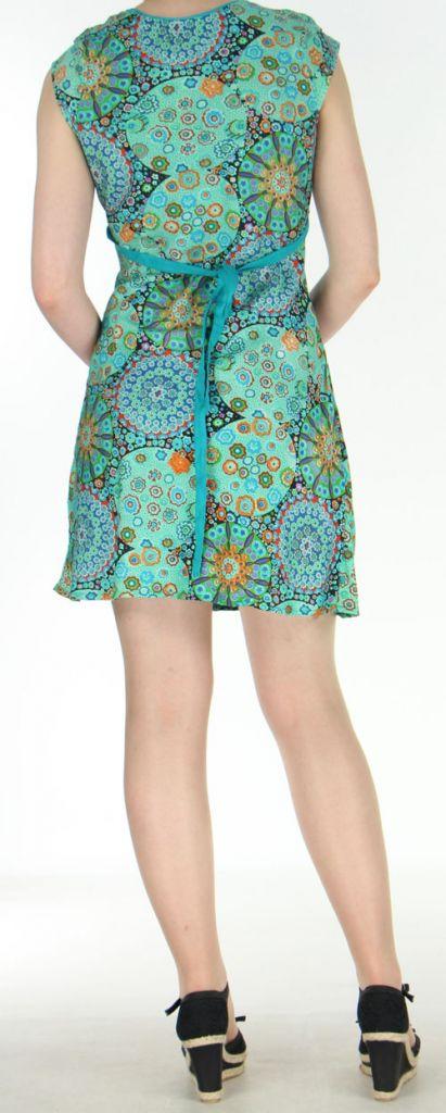 Robe courte imprimée turquoise sans manches Helena