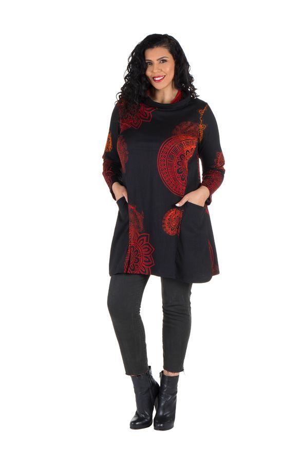 Robe courte imprimés mandala à manches longues Fire 301980