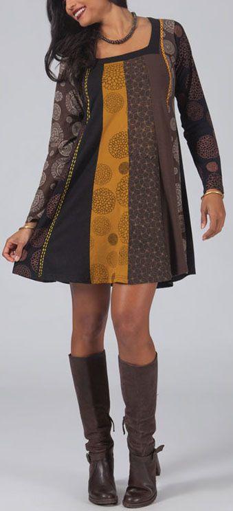 Robe courte marron à col carré Originale et Ethnique Mélane