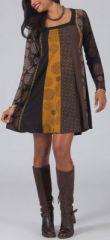Robe courte marron � col carr� Originale et Ethnique M�lane