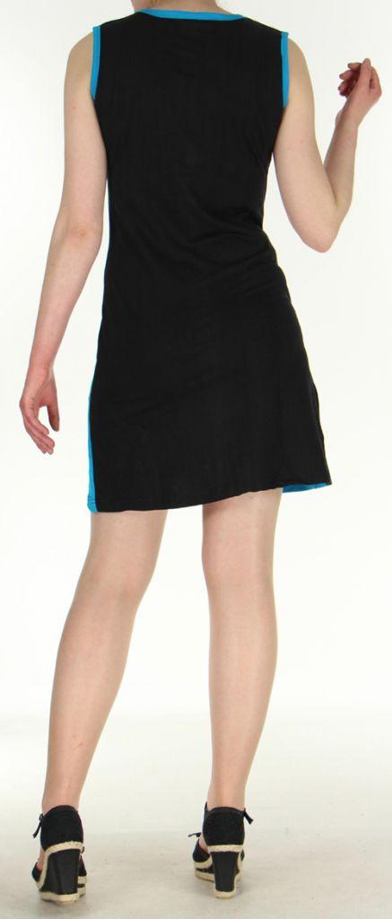 Robe courte mode ethnique sans manche noire Alina 271808
