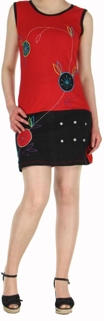 Robe courte mode ethnique sans manche rouge Alina 271805