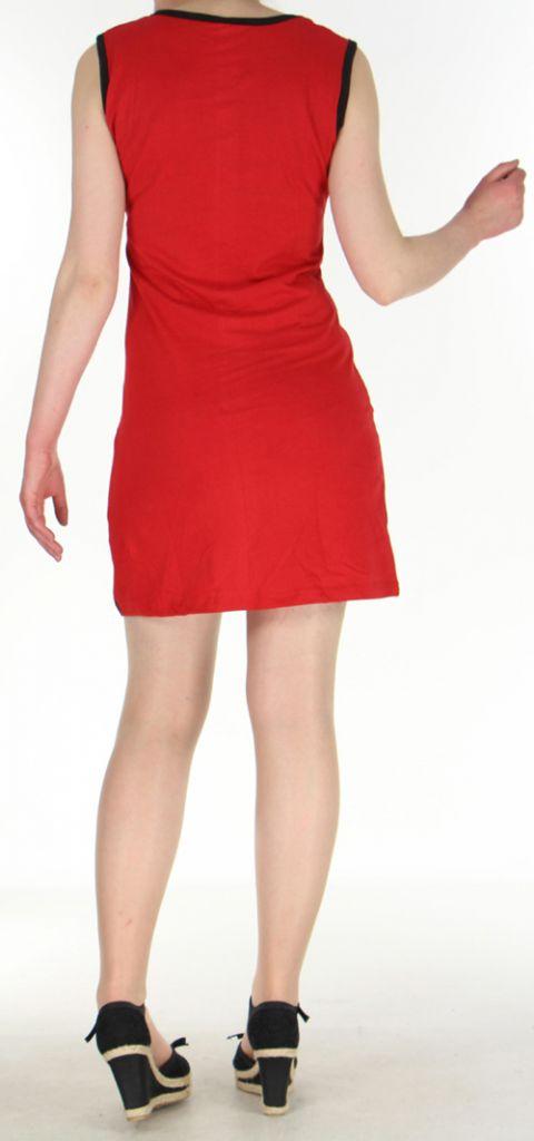 Robe courte mode ethnique sans manche rouge Alina 271806