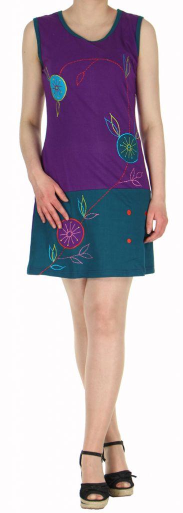 Robe courte mode ethnique sans manche violette Alina 271803