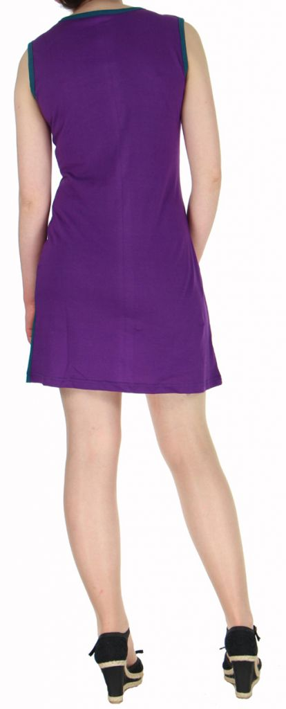 Robe courte mode ethnique sans manche violette Alina 271804