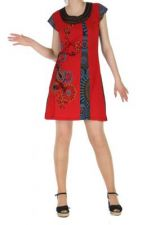 Robe courte n�palaise sara rouge 261994